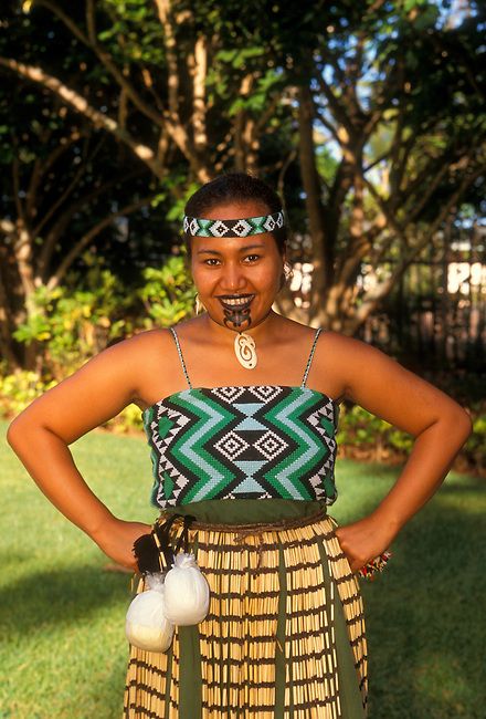 Maori woman (model released) at the Polynesian Cultural Center, Laie, Oahu Island, Hawaii, United States..