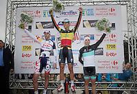 Heistse Pijl 2013<br /> <br /> podium with Tom Boonen (BEL) victorious, Kenny Dehaes (BEL) 2nd &amp; Sean De Bie (BEL) 3rd