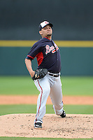 Atlanta Braves pitcher Luis Avilan (43) during a spring training game against the Detroit Tigers on February 27, 2014 at Joker Marchant Stadium in Lakeland, Florida.  Detroit defeated Atlanta 5-2.  (Mike Janes/Four Seam Images)