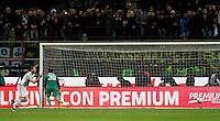 Calcio, Coppa Italia: semifinale di ritorno Inter vs Juventus. Milano, stadio San Siro, 2 marzo 2016. <br /> Juventus&rsquo; Leonardo Bonucci, left, celebrates after scoring the winning goal on a penalty shootout against FC Inter&rsquo;s goalkeeper Samir Handanovic during the Italian Cup second leg semifinal football match between Inter and Juventus at Milan's San Siro stadium, 2 March 2016.<br /> UPDATE IMAGES PRESS/Isabella Bonotto