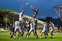 Graham Kitchener of Leicester Tigers wins the ball at a lineout. European Rugby Champions Cup match, between Leicester Tigers and Castres Olympique on October 21, 2017 at Welford Road in Leicester, England. Photo by: Patrick Khachfe / JMP