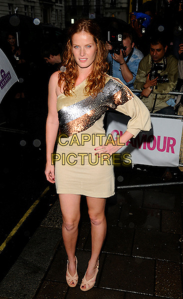 REBECCA MADER .Outside arrivals at The Glamour Women of the Year Awards 2008, Berkeley Square Gardens, London, England..June 3rd, 2008.full length dress silver beige gold bronze sequins sequined one shoulder hand on hip.CAP/CAN.©Can Nguyen/Capital Pictures.