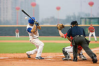 20 August 2007: #16 Florian Peyrichou avoids a wild pitch during the Czech Republic 6-1 victory over France in the Good Luck Beijing International baseball tournament (olympic test event) at the Wukesong Baseball Field in Beijing, China.