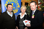 Drogheda Lions Club Christmas presentations (from left) Alan Clarke of Drogheda Lions Club, Theresa Morley of Connect Family Resource Centre, Moneymore and Shane Mangan of Tesco West Street. Photo: Andy Spearman. www.newsfile.ie