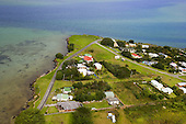 An aerial view of some of the houses at Kaimaumau on the Rangaunu Harbour, Far North. Northland, New Zealand.
