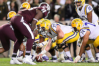 LSU center Ethan Pocic (77) set to snap on the line of scrimmage during an NCAA football game, Thursday, November 27, 2014 in College Station, Tex. LSU defeated Texas A&M 23-17. (Mo Khursheed/TFV Media via AP Images)