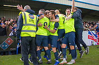 Adam Thomas (Stockport County) clebrates after scoring during the Vanarama National League North match between Nuneaton Town and Stockport County at the Liberty Way Stadium, Nuneaton, England on 27 April 2019. Photo by James  Gill.