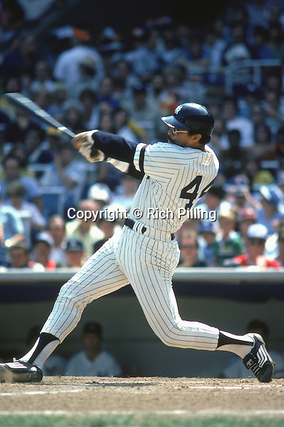 UNDATED:  Reggie Jackson #44 of the New York Yankees swings at the ball. Reggie Jackson played for the New York Yankees from 1977-1981. (Photo by Rich Pilling)