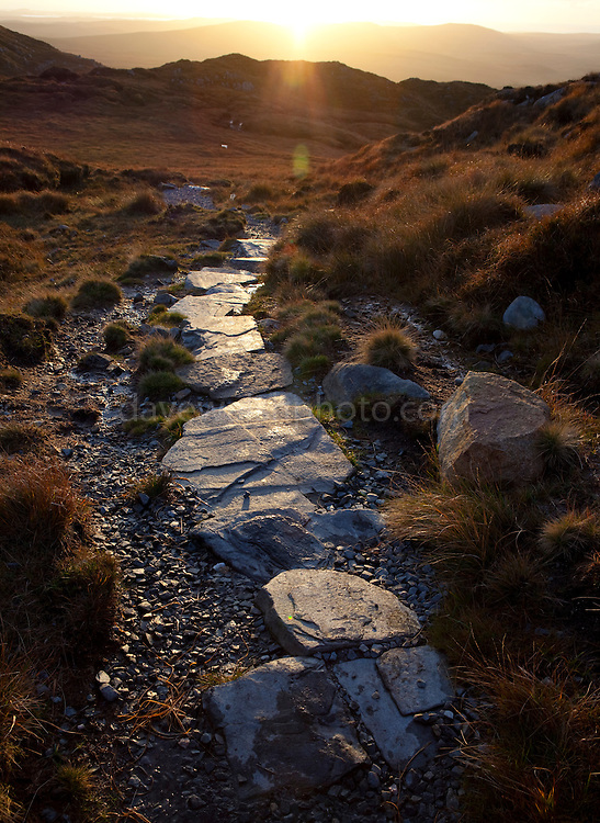 Walking path on Diamond Hill, a mountain in the Twelve Bens (or Pins) range, part of Connemara National Park, Galway, Ireland
