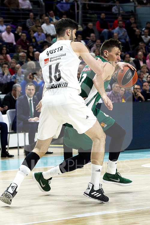 Real Madrid's Santiago Yusta and Zalgiris' Laurynas Birutis during Euroligue match between Real Madrid and Zalgiris Kaunas at Wizink Center in Madrid, Spain. April 4, 2019.  (ALTERPHOTOS/Alconada)