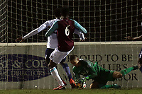 Alfie Whitman saves under pressure during West Ham United Under-23 vs Tottenham Hotspur Under-23, Premier League 2 Football at the Chigwell Construction Stadium on 12th February 2018