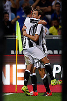 Calcio, Serie A: Inter vs Juventus. Milano, stadio San Siro, 18 settembre 2016.<br /> Juventus&rsquo; Stephan Lichsteiner, right, is hugged by teammate Miralem Pjanic after scoring during the Italian Serie A football match between FC Inter and Juventus at Milan's San Siro stadium, 18 September 2016.<br /> UPDATE IMAGES PRESS/Isabella Bonotto