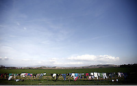 Pictured: Clothes drying on a field fence Thursday 25 February 2016<br /> Re: Refugees have been left stranded in temporary camps after Greek FYRO Macedonian borders were closed in Idomeni, northern Greece.