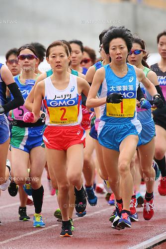 (L to R) <br /> Reia Iwade, <br /> Mai Ito, <br /> FEBRUARY 14, 2016 - Marathon : <br /> All Japan Industrial Half Marathon <br /> in Yamaguchi, Japan. <br /> (Photo by YUTAKA/AFLO SPORT)