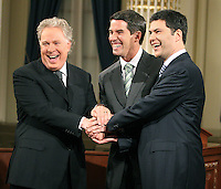Quebec City, March 13, 2007 ? Jean Charest, Mario Dumont and André Boisclair meet the press before the debate at National Assembly March 13, 2007. Just two weeks before the March 26 election, the debate could be a turning point.