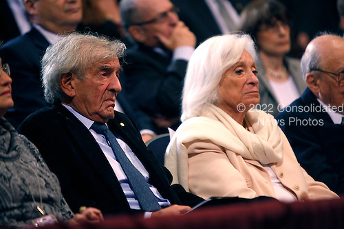 Elie Wiesel and his wife, Marion Erster Rose Wiesel, watch United States President Barack Obama  speak at the Holocaust Museum in Washington DC on April 23, 2012..Credit: Dennis Brack / Pool via CNP