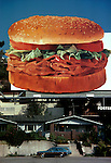 Arby's Roast Beef sandwich billboard  over houses in Hollywood.