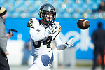 Will Drawdy (34) of the Wake Forest Demon Deacons warms up prior to the game against the Texas A&M Aggies at Bank of America Stadium on December 29, 2017 in Charlotte, North Carolina.  The Demon Deacons defeated the Aggies 55-52.  (Brian Westerholt/Sports On Film)