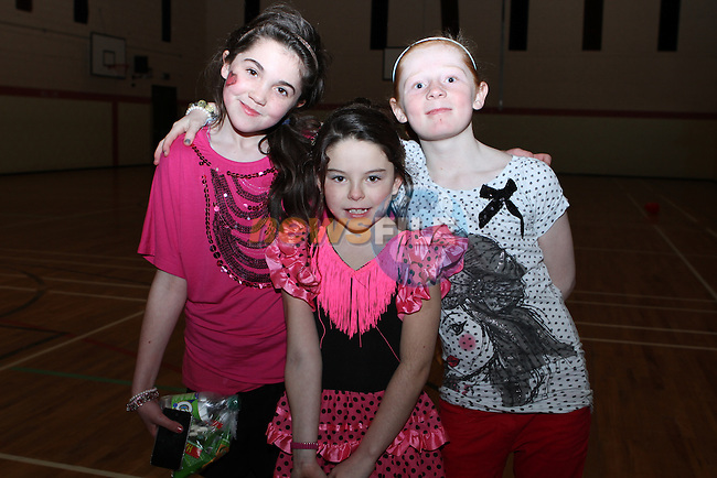 Clodagh Smyth, Emma O'Brien and Chloe O'Neill at the Kids Disco in aid of the Dunleer St.Patricks Day Parade...(Photo credit should read Jenny Matthews/NEWSFILE)...
