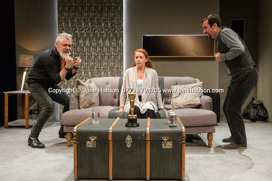 """The Traverse Theatre presents the world premiere of, """"Ulster American"""", written by David Ireland, as part of the Edinburgh Festival Fringe. Directed by Gareth Nicholls, Assistant Director Kolbrún Björt Sigfúsdóttir, the designer is Becky Minto, sound designer MJ McCarthy, fight direction by EmmaClaire Brightlyn. Picture shows: Darrell D'Silva, Lucianne McEvoy, Robert Jack."""