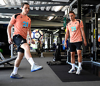 (L-R) Aaron Lewis and Connor Roberts exercise in the gym during the Swansea City Players Return to Pre-Season Training at The Fairwood Training Ground, Wales, UK. Monday 02 July 2018