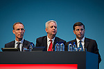 © Joel Goodman - 07973 332324 . 23/09/2013 . Brighton , UK . L-R Shadow Defence Secretary , Jim Murphy , Shadow International Development Secretary , Ivan Lewis and Shadow Foreign Secretary , Douglas Alexander, sit on the panel during the Britain's Global Role session . Day 2 of the Labour Party 's annual conference in Brighton . Photo credit : Joel Goodman