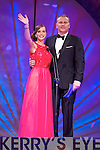 New Zealand Rose Alana Marshall with presenter Dáithí Ó Sé during the Monday night Rose Selection at the Dome.