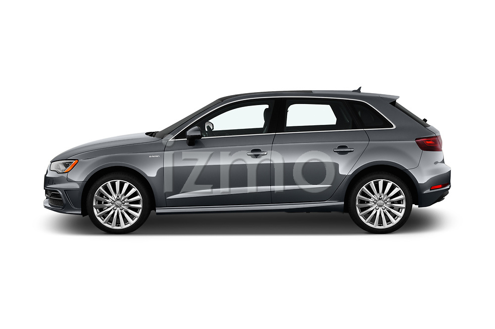 Car driver side profile view of a 2016 Audi A3  Sportback e tron 1.4T S tronic Premium Plus  5 Door Hatchback