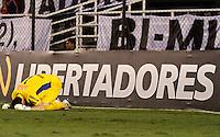 SANTOS,SP,24 MAIO 2012 - COPA SANTANDER LIBERTADORES - SANTOS x VELEZ SARSFIELD - O goleiro Rafael do Santos  durante cobrança de penalti na partida  Santos X Velz Sarsfield válido pelas oitavas de final  da Copa Santander Libertadores no Estádio Urbano Caldeira (Vila Belmiro), no litoral sul de São Paulo na noite desta quinta feira (24). (FOTO: ALE VIANNA -BRAZIL PHOTO PRESS).