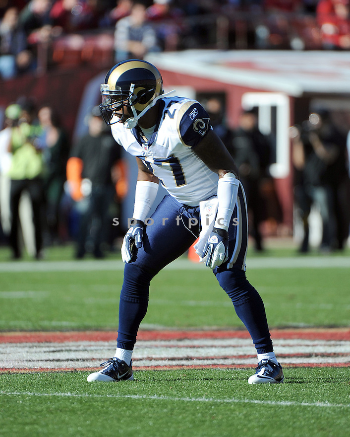 QUINTIN MIKELL, of the St. Louis Rams, in action during the Rams game against the San Francisco 49ers on December 4, 2011 at Candlestick Park in San Francisco, CA. The 49ers beat the Rams 26-0.