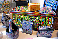 Lacquerware chest, boxes and gourds from the town of Olinala, Guerrero, Mexico, in the Museo de Arte Popular of Museum of Popular Art in Mexico City.