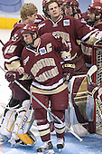 Joe Pearce, Peter Harrold, Adam Reasoner, Benn Ferreiro, Brian O'Hanley - The Boston College Eagles defeated the University of North Dakota Fighting Sioux 6-5 on Thursday, April 6, 2006, in the 2006 Frozen Four afternoon Semi-Final at the Bradley Center in Milwaukee, Wisconsin.