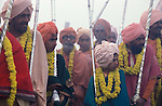 Sadhus on their way to bathe at the Sangam.It was estimated that 30 million people visited the Maha Kumbha Mela in 1989 making it the largest gathering of any kind in modern history.Sadhus holy men and pilgrims come to bathe at the Sangam where the Ganges,Yamuna and Saraswati Rivers meet. Maha Kumbha Mela is held every twelve years at Prayag (Allahabad) in Uttar Pradesh in India.It was estimated that 30 million pilgrims visited the Maha Kumbha Mela in 1989 making it the largest gathering of any kind in modern history.Sadhus holy men and pilgrims come to bathe at the Sangam where the Ganges,Yamuna and Saraswati Rivers meet. Maha Kumbha Mela is held every twelve years at Prayag (Allahabad) in Uttar Pradesh in India.