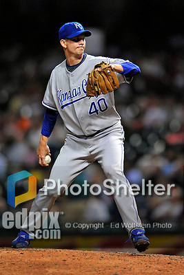12 September 2008: Kansas City Royals' pitcher Kip Wells on the mound in relief against the Cleveland Indians at Progressive Field in Cleveland, Ohio. The Indians defeated the Royals 12-5 in the first game of their 4-game series...Mandatory Photo Credit: Ed Wolfstein Photo