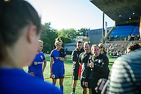 Seattle, WA - Sunday, May 1, 2016: Seattle Reign FC head coach Laura Harvey congratulates her team after a National Women's Soccer League (NWSL) match at Memorial Stadium. Seattle won the match 1-0.