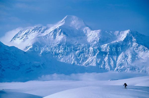 Skier on Malispina Glacier with Mount St. Elias in background, Wrangell-St. Elias National Park, Alaska, AGPix_0129.