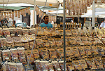 Pasta seller with stall on the Piazza Campo De Fiori in the Parione district of Rome.