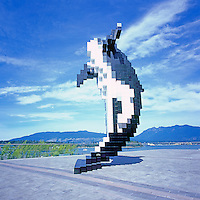 "Killer Whale Sculpture, ""Digital Orca"" (artist Douglas Coupland) at Convention Centre West, Vancouver, BC, British Columbia, Canada"