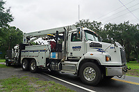 Crews restoring power during Hurricane Dorian in Yulee, Fla. on September 4, 2019