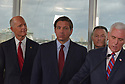 FORT LAUDERDALE, FLORIDA - MARCH 07: Sen. Rick Scott (R-FL), Florida Governor Ron DeSantis, U.S. Coast Guard Admiral Eric Jones and U.S. Vice President Mike Pence stand together during a press conference after participating in a discussion held at Port Everglades Administration Building about possible coronavirus (COVID-19) issues that the cruise line company leaders are experiencing on Saturday on March 07, 2020 in Fort Lauderdale, Florida. U.S. Vice President Pence and the coronavirus task force are heading up the efforts to combat the virus in the United States.  ( Photo by Johnny Louis / jlnphotography.com )