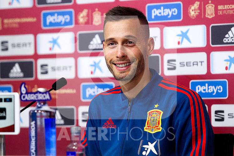 Spain's Sergio Canales during the press conference at the The Football City of the Royal Spanish Football Federation in Madrid 19th March 2019. (ALTERPHOTOS/Alconada)