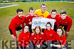 Staff members from Active Kingdom who presented a cheque of €1,408 to Sean Scally, Enable Ireland at John Mitchels GAA pitch on Thursday, June 15th last were front l-r: Maria O'Sullivan, Katie McAuliffe Miriam Leane and Emma Fitzgerald. Back l-r: Anthony Fealy Paul Carmody Sean Scally (Enable Ireland). Darragh McCarthy and Paul O'Callaghan.