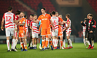 Blackpool and Doncaster Rovers at the end of todays match<br /> <br /> Photographer Rachel Holborn/CameraSport<br /> <br /> The EFL Sky Bet League One - Doncaster Rovers v Blackpool - Tuesday 27th November 2018 - Keepmoat Stadium - Doncaster<br /> <br /> World Copyright &copy; 2018 CameraSport. All rights reserved. 43 Linden Ave. Countesthorpe. Leicester. England. LE8 5PG - Tel: +44 (0) 116 277 4147 - admin@camerasport.com - www.camerasport.com
