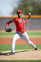Cincinnati Reds pitcher Gregory Reinoso (55) during an Instructional League game against the Texas Rangers on October 4, 2016 at the Surprise Stadium Complex in Surprise, Arizona.  (Mike Janes/Four Seam Images)