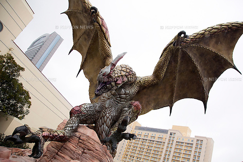 """January 22, 2015, Osaka, Japan : A 12 meter Seregios character on display during the showcase of the attraction """"MONSTER HUNTER: THE REAL"""" at Universal Studios Japan. The UNIVERSAL COOL JAPAN event showcases Japan's top entertainment brands (EVANGELION: THE REAL 4D, Attack on Titan: THE REAL, BIOHAZARD: THE SCAPE and MONSTER HUNTER: THE REAL) to the world and runs from January 23 to May 10 2015 at Universal Studios Japan. (Photo by Rodrigo Reyes Marin/AFLO)"""