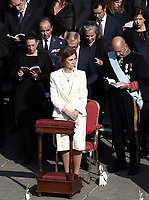 Former Queen Sofia of Spain attends a canonization mass in St. Peter's Square at the Vatican, on October 14, 2018.<br /> UPDATE IMAGES PRESS/Isabella Bonotto<br /> <br /> STRICTLY ONLY FOR EDITORIAL USE