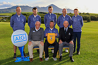 The Galway Team, winners of the AIG Senior Cup Connacht Pennant during the AIG Cups & Shields Connacht Finals 2019 in Westport Golf Club, Westport, Co. Mayo on Sunday 11th August 2019.<br /> <br /> Back Row: Eddie McCormack, Stephen Brady, Liam Nolan, Joe Lyons and Ronan Mullarney.<br /> Front Row: Brendan McKenna (Sponsor: AIG), Gerry Cox (Team Captain) and Jimmy Duggin (Hon. Secretary Connacht Branch).<br /> <br /> Picture:  Thos Caffrey / www.golffile.ie<br /> <br /> All photos usage must carry mandatory copyright credit (© Golffile | Thos Caffrey)