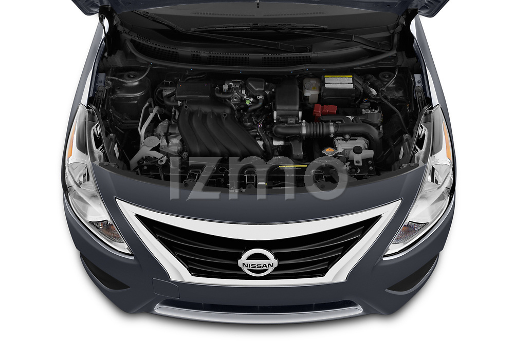 Car Stock 2019 Nissan Versa-Sedan SV 4 Door Sedan Engine  high angle detail view