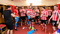 From left, Lincoln City manager Danny Cowley, Matt Gilks, Matt Rhead, Cian Bolger, Josh Vickers, Danny Rowe, Michael O'Connor, Tom Pett, Neal Eardley, and Shay McCartan celebrate in the changing room after winning the league<br /> <br /> Photographer Chris Vaughan/CameraSport<br /> <br /> The EFL Sky Bet League Two - Lincoln City v Tranmere Rovers - Monday 22nd April 2019 - Sincil Bank - Lincoln<br /> <br /> World Copyright © 2019 CameraSport. All rights reserved. 43 Linden Ave. Countesthorpe. Leicester. England. LE8 5PG - Tel: +44 (0) 116 277 4147 - admin@camerasport.com - www.camerasport.com