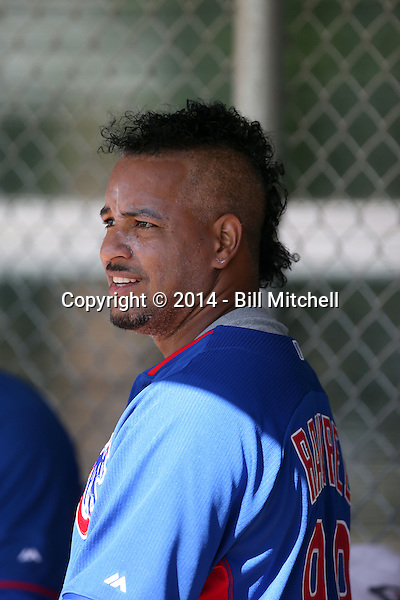 Manny Ramirez plays in an extended spring training game with the Chicago Cubs against the Los Angeles Angels at the Cubs minor league complex on June 5, 2014 in Mesa, Arizona. Ramirez signed with the Cubs to be a player-coach with their Triple-A Iowa Cubs team after getting back into playing shape in extended spring training (Bill Mitchell)